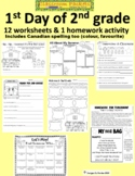 First Day of School Worksheets for 2nd Grade with U.S. and Canadian Spelling