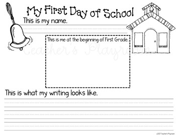 Back to School-First Day of School Writing for First Grade