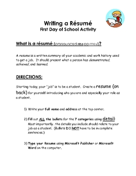 First Day of School - Writing a Resume!