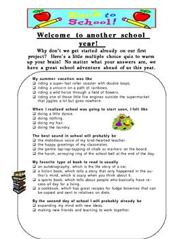 First Day of School - humor to welcome students