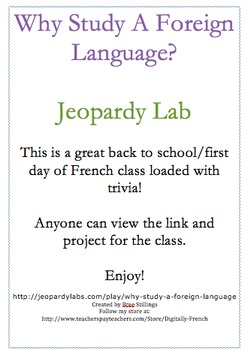 First Day of School or French Jeopardy Game
