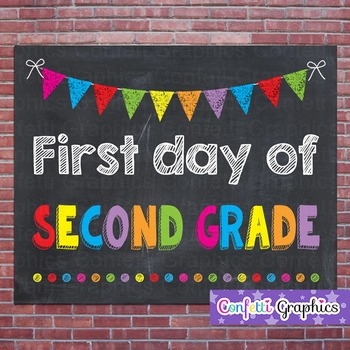 First Day of Second Grade 2 Chalkboard Chalk Sign Back to School Photo Prop