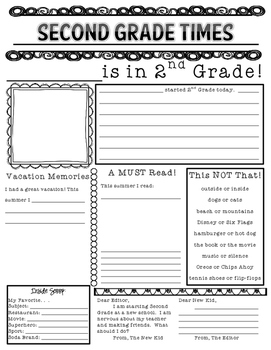 First Day of Second Grade Newspaper