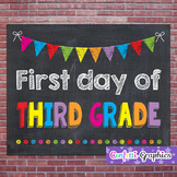 First Day of Third Grade 3 Chalkboard Chalk Sign Back to School Photo Prop