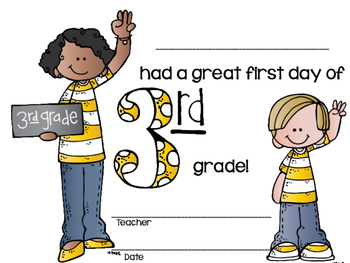 First Day of Third Grade Certificates