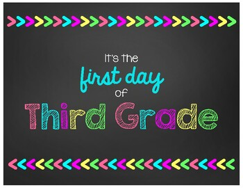First Day of Third Grade Chalkboard Sign