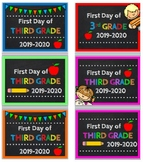 First Day of Third Grade Photo Prop Sign 2019-20 w/ Bonus Last Day Signs