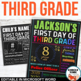 First Day of Third Grade Sign Board EDITABLE Back to School Sign, First Day Sign