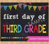 First Day of Third Grade Sign Printable 3rd Back to School Chalkboard Poster