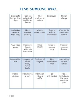 First Days Activity: Getting to Know You Bingo