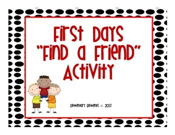 First Days Find a Friend Activity