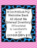 First Days Interest Inventory 5 different versions!