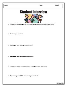 First Days Of School (Student Interview and Scavenger Hunt)