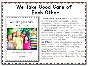 First Days in Kindergarten - Back to School Deck - Motto and Promises (rules)