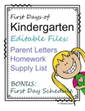 First Days of Kindergarten Homework and Letter to Parent –