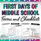 Classroom Management: First Days of Middle School Forms and Checklists