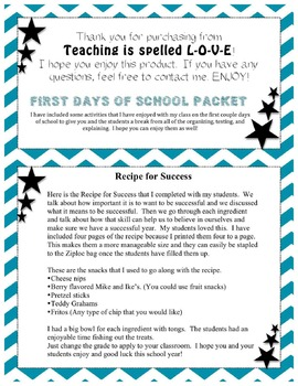 First Days of School Activities Packet