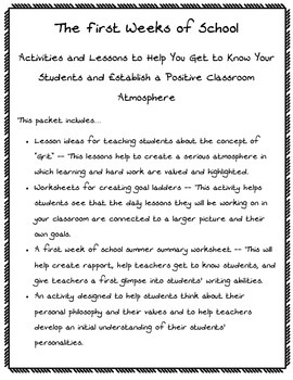 First Days of School Activities and Lessons