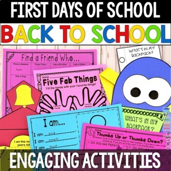 First Days of School Activity Pack, Back to School Activities and crafts
