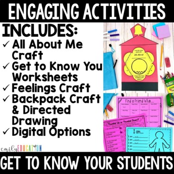First Days of School Activity Pack, Back to School Activities