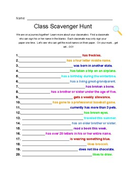 First Days of School Class Scavenger Hunt for classroom community and bonding