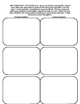 First Days of School Comment Cards