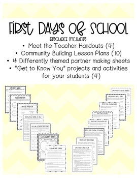 First Days of School: Community Building Lesson Plans and Worksheets