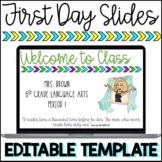 First Days of School Editable Teacher Introduction Slides