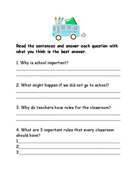 First Days of School Fun Behavior Worksheets for All Grades