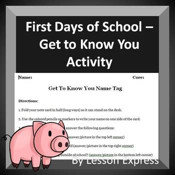 First Days of School -- Get To Know Your Students Icebreaker + Lesson