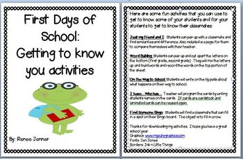 First Days of School: Getting to Know You Activities