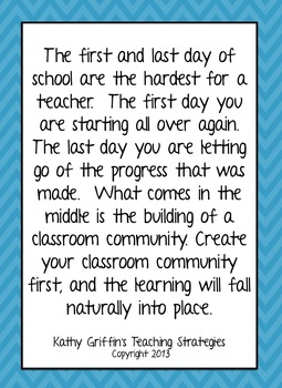 Preschool Teacher Quotes Beauteous First Day Of School Inspirational Quoteskathy Griffin  Tpt