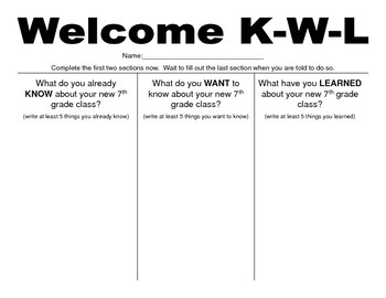 First Days of School - KWLs and Anticipation Guides