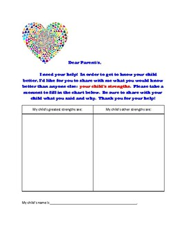 First Days of School Parent Homework to recognize each student's gifts