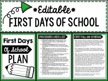 First Days of School Plan