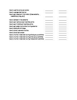 First Days of School Procedures Checklist