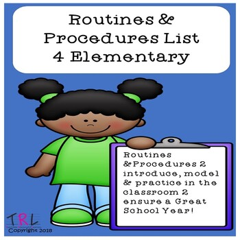 First Days of School Routines & Procedures List 4 Elementary