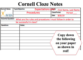 First Days of School Rules and Procedures Cloze Notes