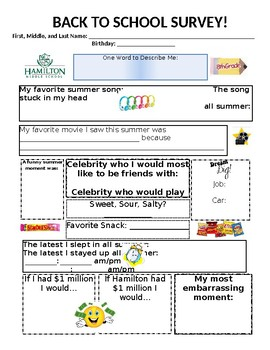 First Days of School Student Survey: Editable!