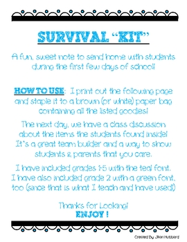 "First Days of School Welcome (Survival ""Kit"")"