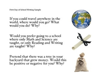 FREE- First Days of School Writing Sample