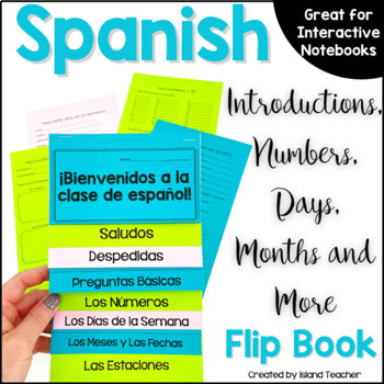 First Days of Spanish Interactive Notebook Flip Book EDITABLE