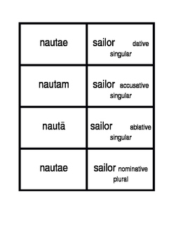 First Declension nouns in Latin Concentration games