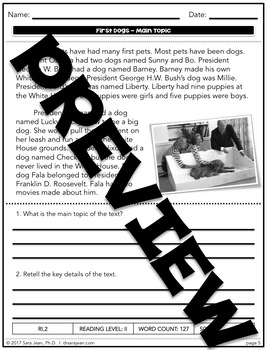 First Dogs • Reading Comprehension Passages and Questions • RL II