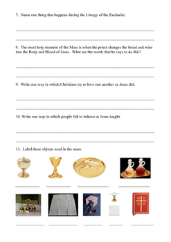 First Eucharist Worksheet
