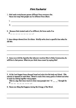 First Eucharist Worksheet
