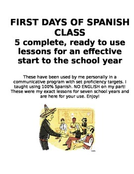 First Five Days of Spanish Class Lessons