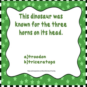 First Facts about Dinosaurs Task Cards