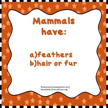 First Facts about Mammals Task Cards