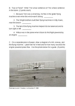 First Flight: The Story of Tom Tate and the Wright Brothers Comprehension Test